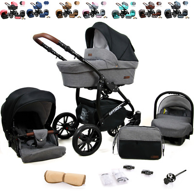 Baby Buggy Travel System Pram 3 in1  Car Seat Carrycot  Pushchair Stroller