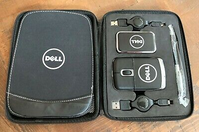DELL Computer Leather Mouse / USB Hub / Mousepad / Pen Set in Zippered Case