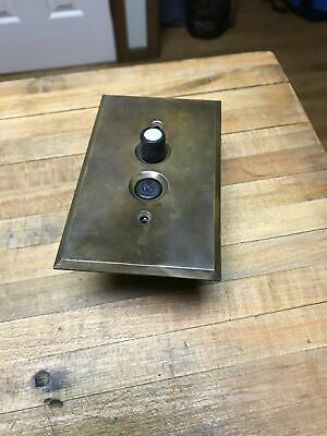 Vintage Push Button On/Off Light Switch W/Brass Plate Mother Of Pearl
