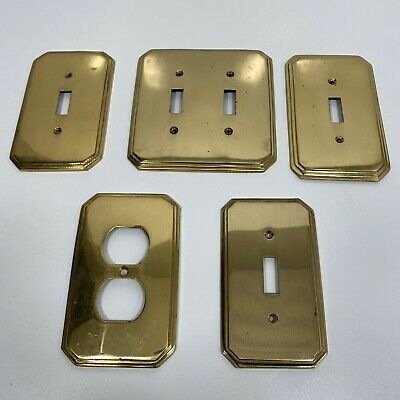 Lot of 5 Vtg Brass Electrical Wall Switch Outlet Plates Beveled Edge Goldtone
