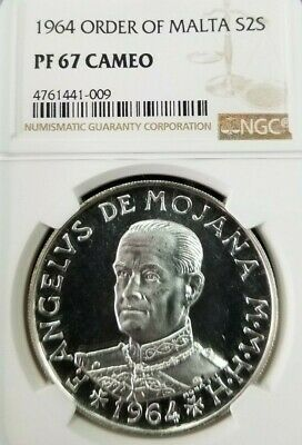 1964 Order Of Malta Silver 2 Scudo S2S Ngc Pf 67 Cameo Beautiful Frosty Coin