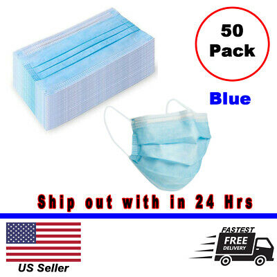 50pcs Disposable Medical Dental Industry Dust Proof Face Mask Respirator - Blue