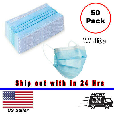 50pcs Disposable Medical Dental Industry Dust Proof Face Mask Respirator - White