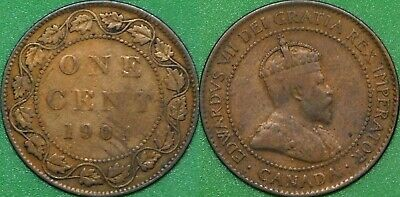 1904 Canada Large 1 Cent Graded as Fine Gouged Coin