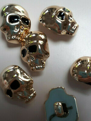 10x 16/12 SKULL HEADS SINGLE SHANK  BUTTONS GOLD TONE