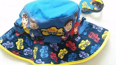 THE WIGGLES Boy Girl Licensed bucket brim hat with toggle blue NEW up to 53cm