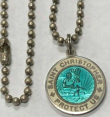 "Vtg, Saint Christopher Protect Us Turqouise Blue Sterling Silver With 18"" Chain"