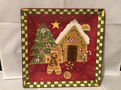 Christmas Holiday Treats Serving Bowl Gingerbread Man Ceramic Laurie/Gates Tree