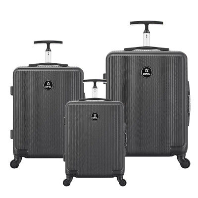 3 Pcs Luggage Travel Set With Lock 4 Wheels Bag Trolley Case Carry On Black