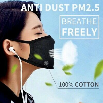 4X Earloop Surgical Mask Washable Black Anti Dust Virus Mouth Face Cycling