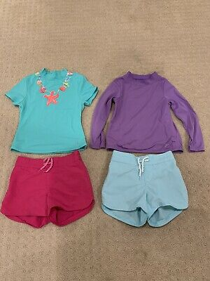 Lands End Little Girls Swim Rash Guard Tops/Shorts Size (4/5)