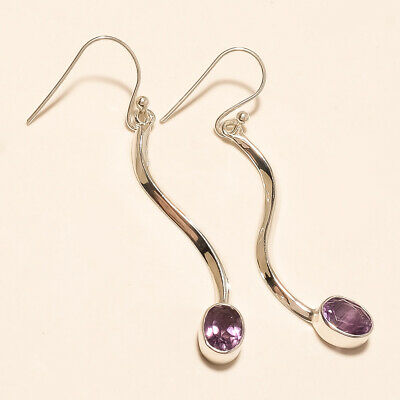 Real Panorama Purple Amethyst Cocktail Earring 925 Sterling Silver Jewelry Gift