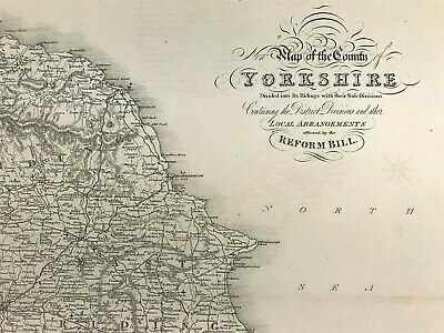 Maps of YORKSHIRE 2,  Ridings towns, gentleman houses, election reform bill 1833