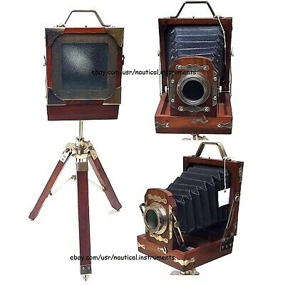Vintage Style Nickel Finish Decorative Camera with Wooden Tripod Stand