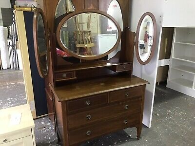 Edwardian Inlaid Double Mirrored Wardrobe and Dresser Two Piece. Good Condition