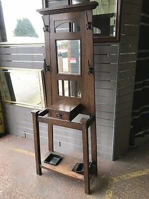 Antique Arts And Crafts Solid Oak Hall Stand
