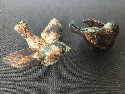 """ANTIQUE VINTAGE OLD CAST IRON TWO SONG BIRDS about 3"""" TALL by 4"""""""