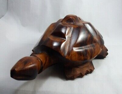 Hand Carved Wooden Turtle on A Rock Figurine