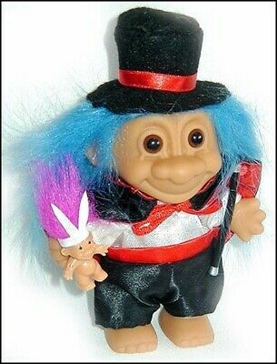 MAGICIAN TROLL w/ Top Hat Rabbit BLUE HAIR Magic Wand Cape NEW old stock in bag