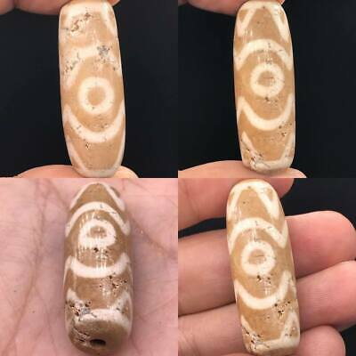 Scarce Tibetain Old agate Bead Natural 3 Eye Stunning Waves bead #A143