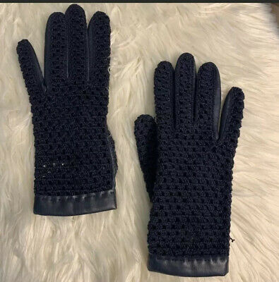 Ladies Vintage Navy Blue Leather Gloves With Crocheted Tops