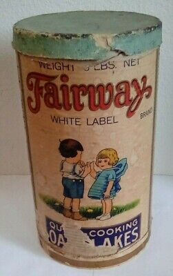 Vintage ~ FAIRWAY WHITE LABEL QUICK COOKING OAT FLAKES ~3 lb Cardboard Container