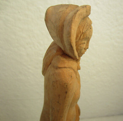 """9+""""   antique vintage female figure statuette  wooden hand carved, carving, wood"""