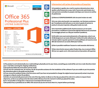 Microsoft Office 365 2019-2020 Professional Plus 5 PC a Licenza a Vita