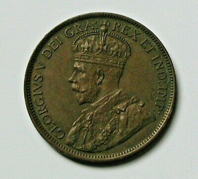 1918 CANADA George V Coin - Large Cent (1¢) - AU+ brown