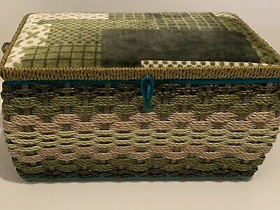 Vintage Made Exclusively For Singer Woven Wicker Sewing Basket With Contents