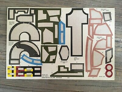 Original Kenner Star Wars ESB Boba Fett's SLAVE 1 Sticker Backing Sheet