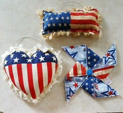 Primitive Heart/Flag/Pinwheel Americana Bowl Filler/ornies/accents 3 pc set