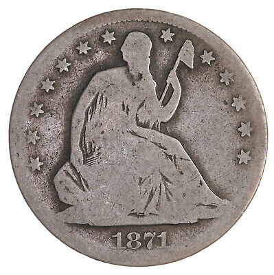 Raw 1871 Seated Liberty 50C Uncertified Ungraded Circulated Silver Half Dollar
