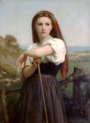 William Bouguereau Paintings Jeune Bergere Print On Canvas Framed Reproduction