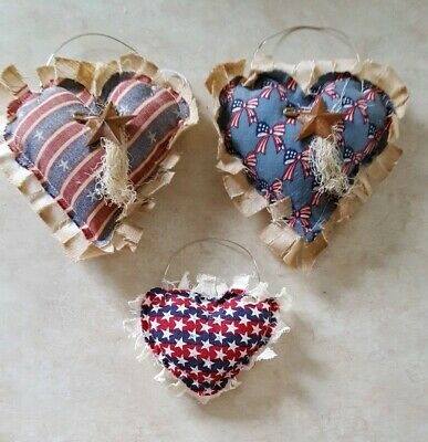 Primitive Hearts Americana Bowl Filler/ornies/hangers/accents 3 pc set