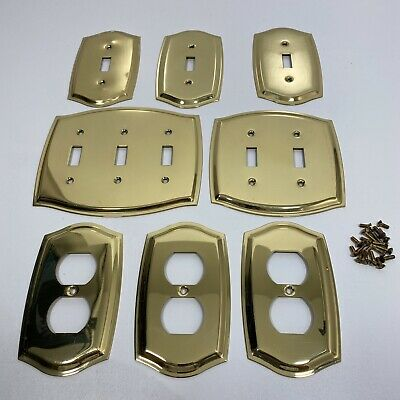 Lot of 8 Vtg Brass Electrical Wall Switch Outlet Plates Beveled Edge Goldtone