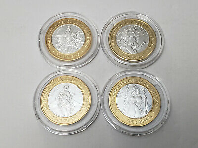 Four Queens Las Vegas SILVER STRIKE Token WINTER SPRING SUMMER FALL Set of 4 Lot