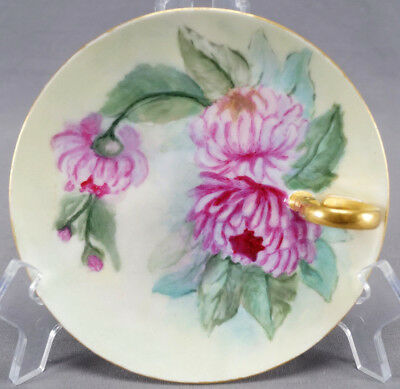 Wehinger & Co Hand Painted Signed AB Pink Dahlia Flowers & Gold Nappy 1910 - 18