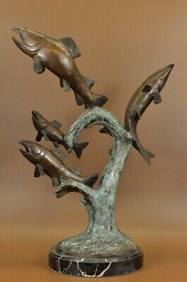 Bronze Jumping Trout Salmon Fish River Statue Figurine Sculpture Hand Made Decor