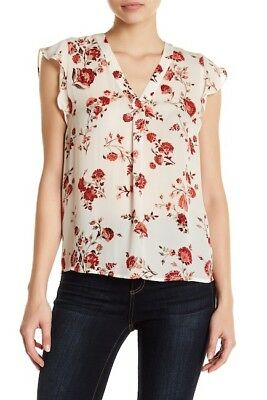 JOIE  $278 PORCELAIN YVETTA SILK  FLORAL BLOUSE TOP  Small  S
