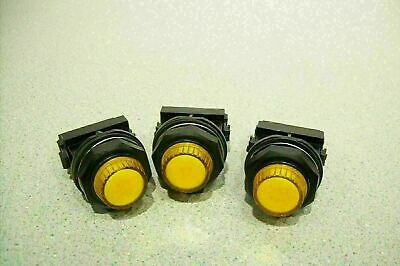 Lot of 3 ABB LED Panel Signal Indicator Yellow Lamp Amber w/ Holder SK 616 003-A