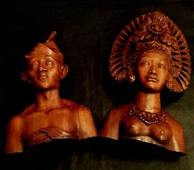 Balinese Prince and Princess Busts (Carved Hard Wood)