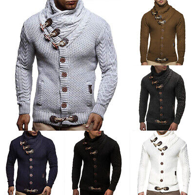 Mens Winter Knitted Hooded Long Sleeve Casual Warm Jumper Pullover Sweater Coat