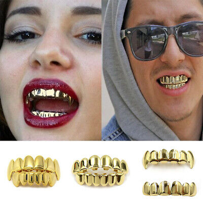 Gold Plated Grills Cap Tooth Hip Hop Teeth Grill Jewellery Teeth Top and Bottom