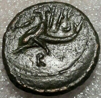 CALABRIA Brundisium Semis Neptune Phalanthos Victory Dolphin AE22 NICE COIN