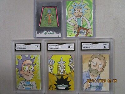 Lot of 5 Graded 2018 Cryptozoic Rick and Morty Season 1 #1 of 1 Sketch Cards GMA