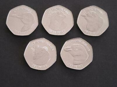 2018 FALKLAND ISLANDS 50p Fifty Pence Penguin Uncolored Coin Set Collection UNC