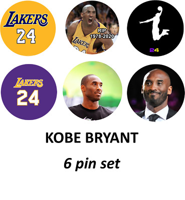 "KOBE BRYANT  -  Set of SIX(6) 1"" pinback button badge"