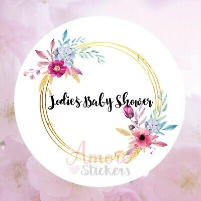 Personalised baby shower Round Floral stickers thank you Favour Flowers Pregnant