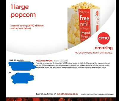 AMC Theaters 1 Large Popcorn And Drink exp Dec 31